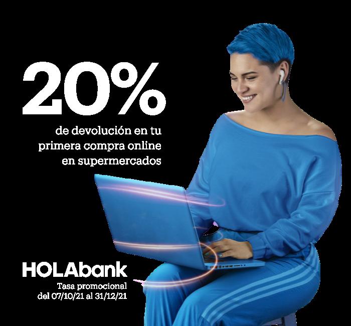 Imagen de modelo revisando su laptop comprando online y aprovechando la promoción de devolución del 20% que le da la cuenta de ahorro digital de BanBif