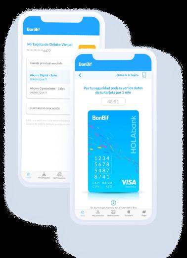 Celular con las pantallas del aplicativo digital de HOLAbank